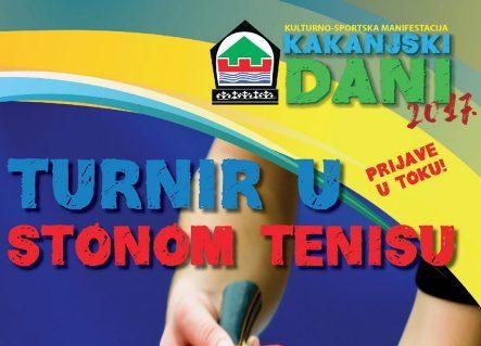 """KAKANJSKI DANI 2017: Javni poziv za učešće na turniru u stonom tenisu """"Prijateljska loptica"""""""