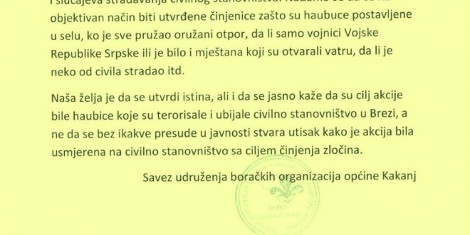 Savez udruženja boračkih organizacija općine Kakanj: Cilj akcije na Čemerno su bile haubice koje su terorisale i ubijale civilno stanovništvo u Brezi