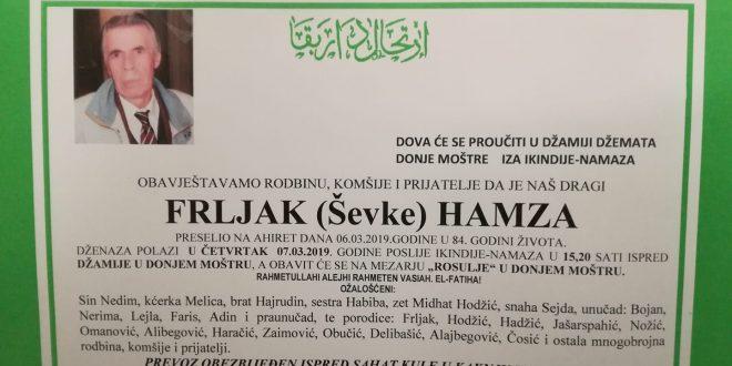IN MEMORIAM: Hamza Frljak (1935-2019)